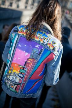 Paris: SS16 hand painted vintage denim jacket #fun #bold #quirky #colorful…