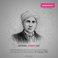 Commemorating the day in the memory of Sir C.Raman, who discovered the Raman effect on February, 1928 National Science Day. National Science Day, National Days, C V Raman, 28 February, Faucet, Legends, Tiles, Marble, Memories