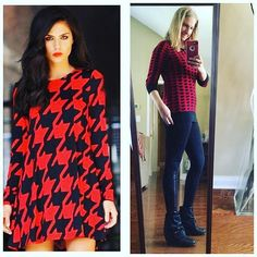 Morning y'all! I totally forgot to share my #pinneditthriftedit #ootd with y'all yesterday for #StyleMeThriftedDecember ⚫️ houndstooth & herringbone ⚫️ details: Red houndstooth tunic : #thrifted $3.99 #goodwill Leather stripe leggings: #thrifted $4.99 #goodwill Black booties : #blowfishshoes $39 #tjmaxx So excited to see how y'all #style your #outfits this week! #wiw #lookforless #KeepinItThrifty #goodwilloutfit #thriftedoutfit #styleonabudget #pinspired