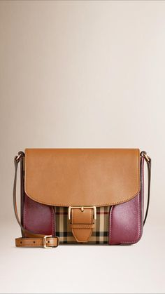 Burberry Small Horseferry Check And Leather Crossbody Bag