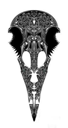 ornate raven skull