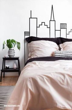 Different colors of diy bedroom wall decor Washi Tape Skyline Headboard Wall Decoration:separator:Different colors of diy bedroom wall decor Diy Wall Decor For Bedroom, Bedroom Themes, Diy Wall Art, Bedroom Wall, Budget Bedroom, Diy Bedroom, Diy Washi Tape Headboard, Headboard Decor, Diy Headboards