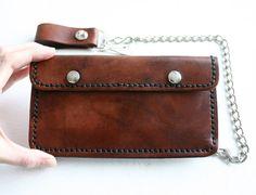 Biker Wallet. Dark brown leather bikers wallet by FatCatLeather, $89.00