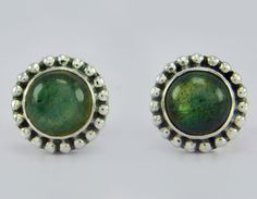 925 Sterling Solid Silver Labradorite Stone Stud Earring s.9 mm SS-109