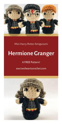 Crochet Hermione Granger Doll Pattern  |  Harry Potter Hermione Pattern  |  HP Amigurumi  |  Crochet Harry Potter Patterns  |  The Boy Who Lived Crochet  |  Mini Amigurumi  |  Crochet Dolls  |  Hermione Granger Crochet
