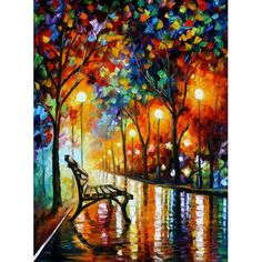 """Leonid Afremov  LONELINESS OF AUTUMN  40 x 30"""" x 3/4""""  Oil Painting on Canvas by Palette Knife  Artist also has videos on his site of him creating paintings"""