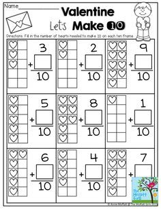 Valentine Let's Make 10- So many activities to help children become fluent with numbers! Kindergarten Activities, Preschool Math, Kindergarten Classroom, Elementary Math, Teaching Math, Ulis, Math Addition, Fun Math, Math For Kids
