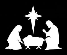 """382# Nativity Scene Christmas Decoration Ornaments Silhouette Die cut Decal 3"""" -12"""" Decoration Window Choose Color Mirror Houseware Home by ChrisCraftiedecor on Etsy"""
