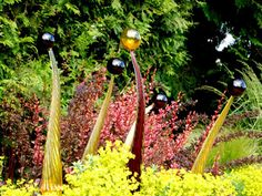 Spears with Spheres garden glass art