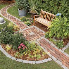 Build a Brick Pathway in the Garden - Garden Pathway Brick Pathway, Brick Garden, Garden Paths, Stone Walkways, Rock Walkway, Garden Web, Balcony Garden, Concrete Garden, Walkway Garden