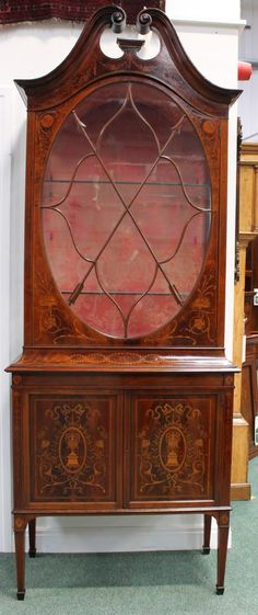 ANTIQUE VICTORIAN MAHOGANY MARQUETRY DISPLAY CABINET