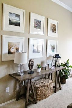 Entry way - Living Room Decor // Ikea Picture Frame Gallery Wall // Sofa Table Decor // Tucker Up BlogClick to check a cool blog!Source for the post: Click