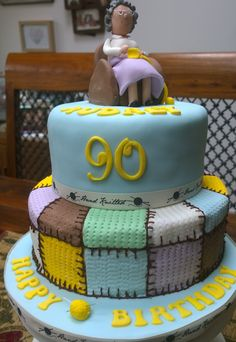 Birthday cake for a 90 year old knitter.