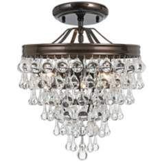 "Crystorama Calypso Bronze 12"" Wide Crystal Ceiling Light"