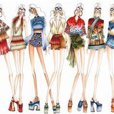 Fashion Illustration Sketches, Fashion Sketchbook, Fashion Design Sketches, Fashion Line, Trendy Fashion, Fashion Art, Vogue Fashion, Fashion Figures, Fashion Dolls