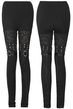Mantrap Black Gothic Leggings by Punk Rave – these awesome leggings are a real eye catcher! They certainly do not lack in detail.