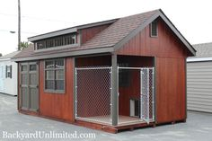 You can even have our sheds customized to include a dog kennel, like this 12'x20' Custom Garden Shed with Dog Kennel Package, Transom Dormer, Transom Windows and Doors, Mahogany Stain, and Gable Vent--Amish made and available in California from http://www.backyardunlimited.com/dog-kennels.php