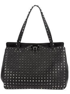 Valentino Garavani rockstud in black Valentino Women, Valentino Black, Designer Totes, Black Tote Bag, Vintage Handbags, Valentino Garavani, Studs, Shoulder Bag, Purses