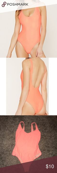 Coral Swimsuit  One piece swimsuit. Worn once! Forever 21 Swim One Pieces