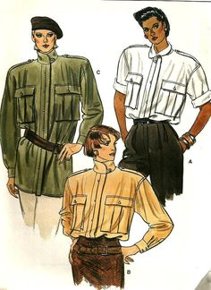 4df2be3a0ac Vintage Vogue 9137 Misses UNCUT Loose-Fitting Tunic or Blouse with Epaulets  Sewing Pattern Size