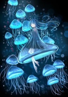 Explore amazing art and photography and share your own visual inspiration! Jellyfish Drawing, Jellyfish Art, Mermaid Drawings, Mermaid Art, Fantasy Creatures, Mythical Creatures, Fantasy Kunst, Fantasy Art, Underwater Art