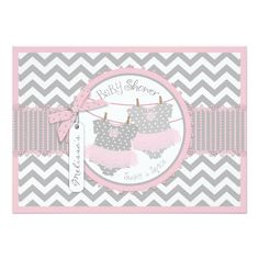 Chic gray and white chevron print with pink contrast and a cute polka dot jumper with pink tutu and 3D-look bow and ribbon for twin girls baby shower invitation card.