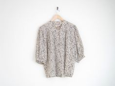 vintage cream silk blouse with floral print