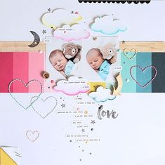Layout *Unsere beiden* - Crate Paper *Cute Girl*, *Little You*, *Cool Kid* - von… Scrapbook Bebe, Scrapbook Sketches, Scrapbook Page Layouts, Scrapbook Paper Crafts, Scrapbook Cards, Crate Paper, Creative Memories, Baby Cards, Fun Crafts