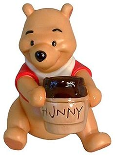 WDCC Disney Classics Winnie The Pooh Time For Something Sweet #WDCCDisneyClassics #Art. Member Gift-1996. Honey: Glistening honey made of resin, drips from Pooh's honey pot and paws. (Variation: No honey dripping from paws). Closed 12/96.