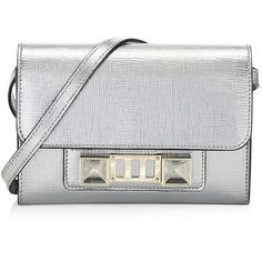 Proenza Schouler Metallic New Linosa Leather Mini Bag ($1,595) ❤ liked on Polyvore featuring bags, handbags, shoulder bags, hand bags, mini purse, leather man bags, leather hand bags and leather purses