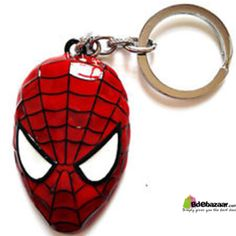 Spiderman Mask Keyring (Red Color) Material: Zinc Alloy Dimensions : 5.5 * 4.5 * 1.5CM Packaging : Cardboard + transparent plastic Weight : 35G with packaging