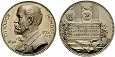 Rhode, Theodor (1836-1912), coin collector; medal 1893 by Pawlik