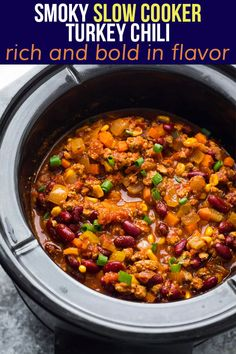 This smoky slow cooker turkey chili is rich and bold in flavor- with chipotle chilis, ground turkey, kidney beans and plenty of spices. The slow cooker makes this easy and hands off to prep, and it works great for meal prep!