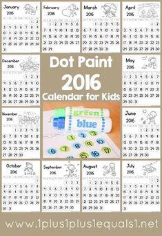 Dot Fun 201 Calendar for Kids ~ Great for Tot School, Preschool and Kindergarten ~ free printable!