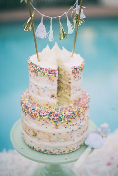 A funfetti wedding cake deserves an equally whimsical topper, don't you think? We love this tassel garland version that you can insert into the top cake tier. Cake design by Paper Cake Events. Sprinkle Wedding Cakes, Cool Wedding Cakes, Rainbow Sprinkle Cakes, Pretty Cakes, Beautiful Cakes, Amazing Cakes, Funfetti Kuchen, Nake Cake, Confetti Cake