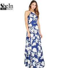 SheIn Womens Summer Maxi Dresses  New Arrival Ladies Sleeveless Blue Halter Neck Floral Print Vintage A Line Dress $35.97   => Save up to 60% and Free Shipping => Order Now! #fashion #woman #shop #diy  http://www.greatdress.net/product/shein-womens-summer-maxi-dresses-2016-new-arrival-ladies-sleeveless-blue-halter-neck-floral-print-vintage-a-line-dress/