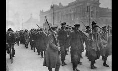 Marines join forces with protesting German workers in Berlin during the revolution of November 1918.