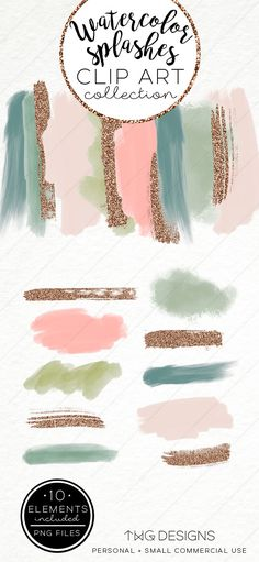 Watercolor Paint Stroke Clip Art / Clipart Green Pink Gold