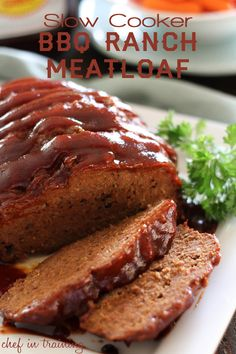"""Slow Cooker BBQ Ranch Meatloaf... Pinner said """"this recipe is so easy and could be THE BEST meatloaf I have ever eaten!"""""""