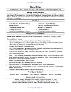 Medical Billing Resume Resume Examples For Medical Coding  Resume And Cover Letter