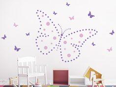 Great Wandtattoo Punkte Schmetterling