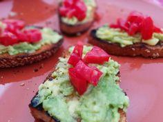 Taoasted bread with avocado and tomato.  https://instagram.com/p/7xqSOADbM6thTBS2BUdVnGvCyUZvuIs0i3iUU0/