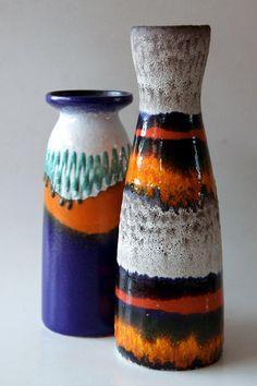 Vintage Blue / Orange / White /Teal Vase Strehla by 1001vintage