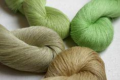Set of 4 linen skeins  green beige shades от YarnStories на Etsy