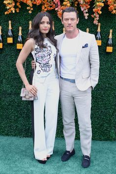 Actress Freida Pinto and actor Luke Evans attend The Tenth Annual Veuve Clicquot Polo Classic at Liberty State Park on June 3, 2017 in Jersey City, New Jersey.