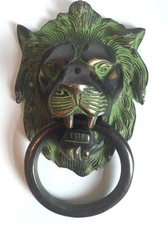 Lion Head Door Knocker made of solid brass with antique finish. A victorial antique reproduction handfinished to high stardards. Can also be used as a towel hanger. | eBay!