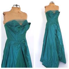 Vintage 1950s Net Lace Taffeta Teal Ariel Prom Gown Dance Originals Fred Perlberg Long Strapless 50s Dress  Princess BallGown Size Small