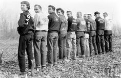 COOOOOL ! photography vintage found photo print teens in rebel jackets gang group men women jeans tennis shoes athletic sports wear casual day 50s fashion style