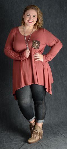 Rust Sequin Pocket Top - Curvy Plus Size Boutique - 1