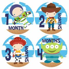 Baby Monthly Stickers  TOY STORY Buzz Lightyear  Baby by PunkyPony, $12.00